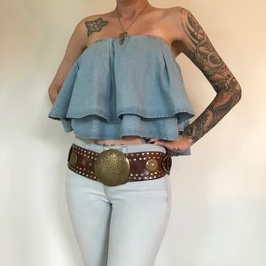 """Stunning Vintage Leather Belt From Morocco 40"""""""